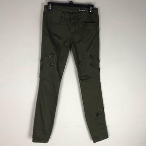 BlackNyc moto zip jeggings skinny jeans green